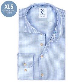 R2 Extra Long Sleeves. Light blue pied de poule 2 PLY cotton shirt