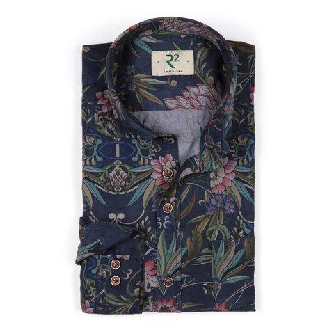 Donkerblauw bloemenprint katoenen overhemd