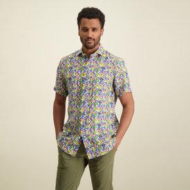 R2 Korte mouwen tropische bladerenprint linnen overhemd.