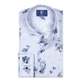 R2 Lichtblauw bloemenprint katoenen overhemd.