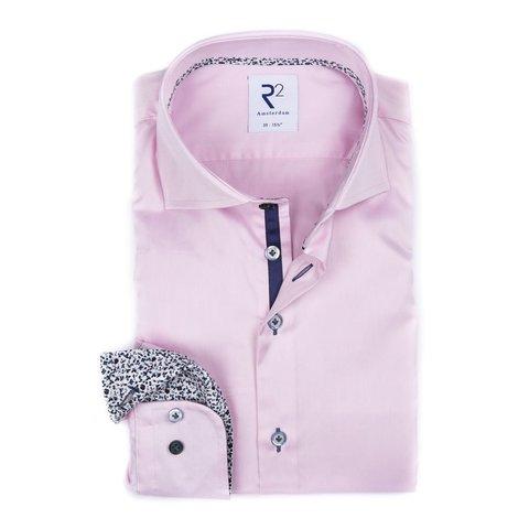 Roze katoenen 2 PLY overhemd.