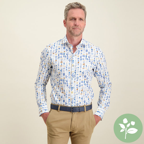 R2 Wit grafische print organic cotton overhemd.