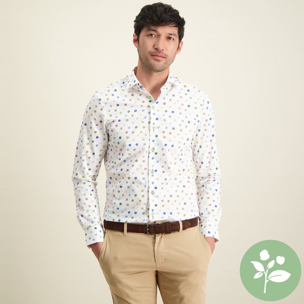 R2 Meerkleurig stippenprint organic cotton overhemd.
