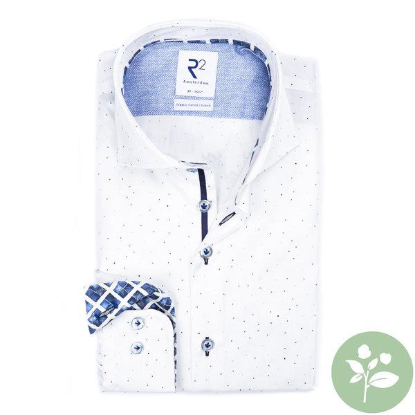 R2 Wit stippenprint 2 PLY organic cotton overhemd.