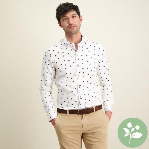 Weiße Punktdruck 2 PLY Baumwollhemd.