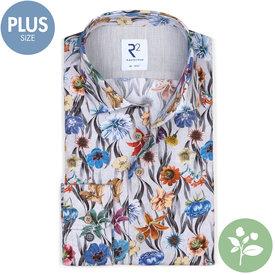 R2 Plus Size. Baumwollhemd mit grauem Blumenprint.  Organic Baumwolle.