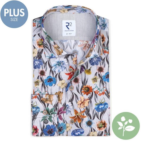 R2 Plus size. Grijs bloemenprint organic cotton overhemd.