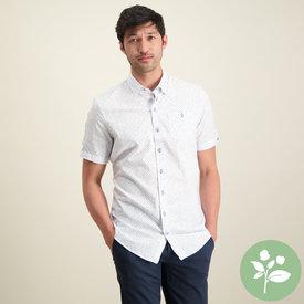 R2 Korte mouwen wit mini dessin organic cotton overhemd.