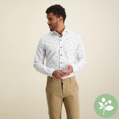 Wit sportprint organic cotton overhemd.