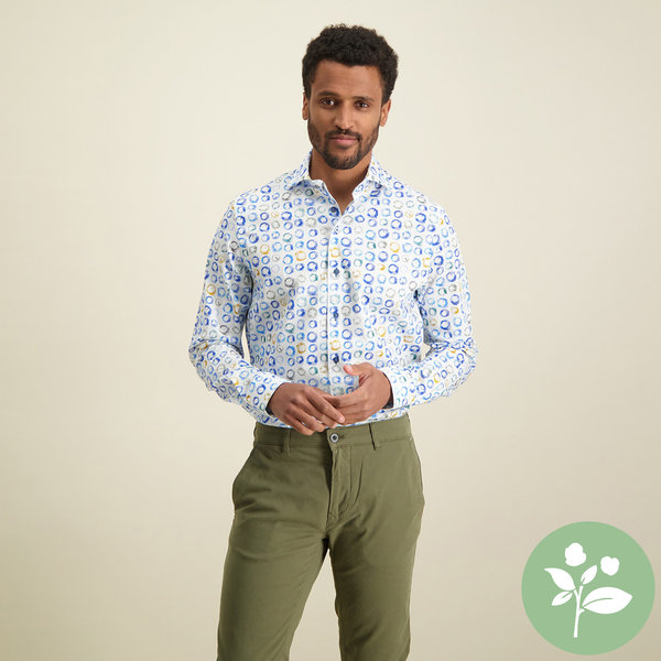 R2 Wit stippenprint stretch organic cotton overhemd
