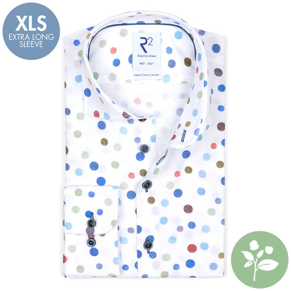 R2 Extra lange Ärmel. Multicolour Punktedruck Bio-Baumwollhemd.