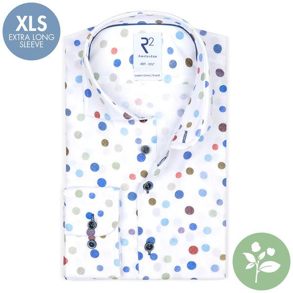 R2 Extra lange mouwen. Multicolour stippenprint organic katoenen overhemd.