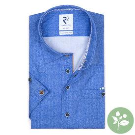 R2 Korte mouwen blauw organic katoen overhemd.
