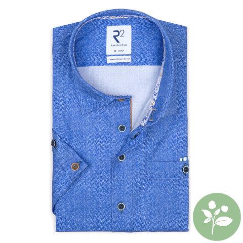 Kurzärmeliges blaues Bio-Baumwollhemd.