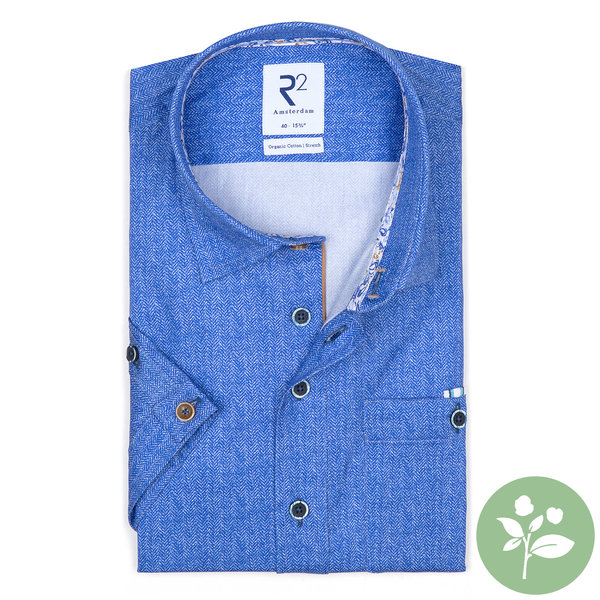 R2 Kurzärmeliges blaues Bio-Baumwollhemd.