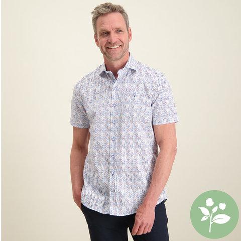 Kurzärmeliges weißes Kreisdruck Bio-Baumwollhemd.