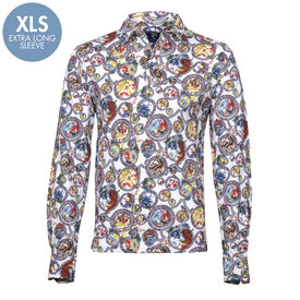 R2 Extra long sleeves. White Eastern print long sleeve cotton polo shirt