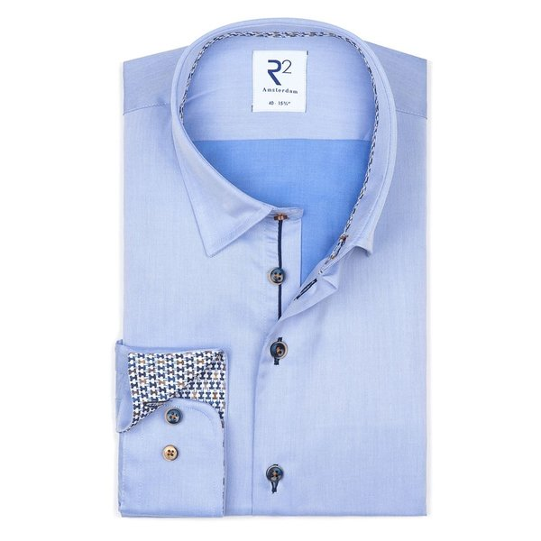 R2 Lichtblauw 2-PLY katoenen overhemd