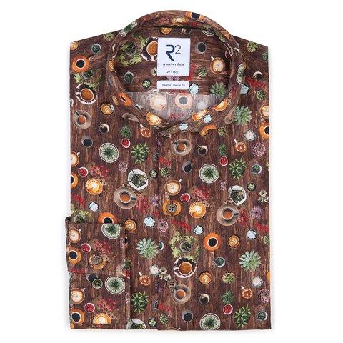 Bruin koffieprint katoenen overhemd