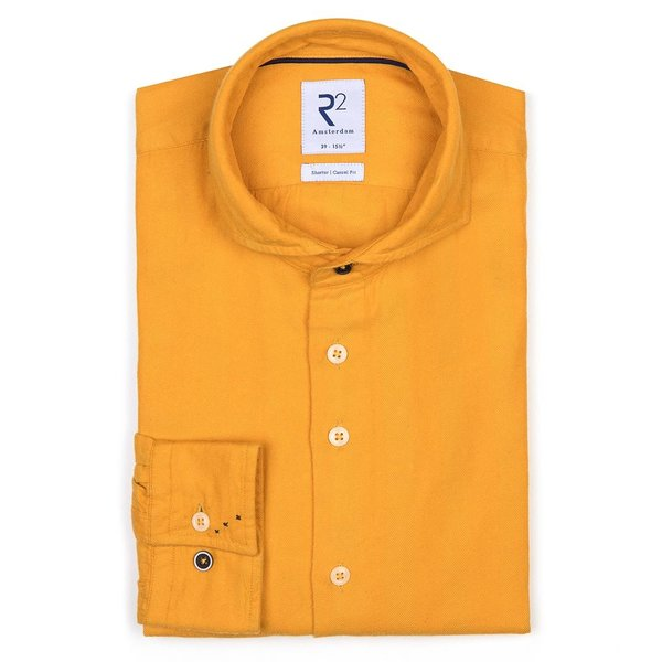 R2 Geel herringbone organic cotton overhemd