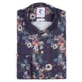R2 Blauw bloemprint herringbone organic cotton overhemd