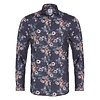 Blauw bloemprint herringbone organic cotton overhemd