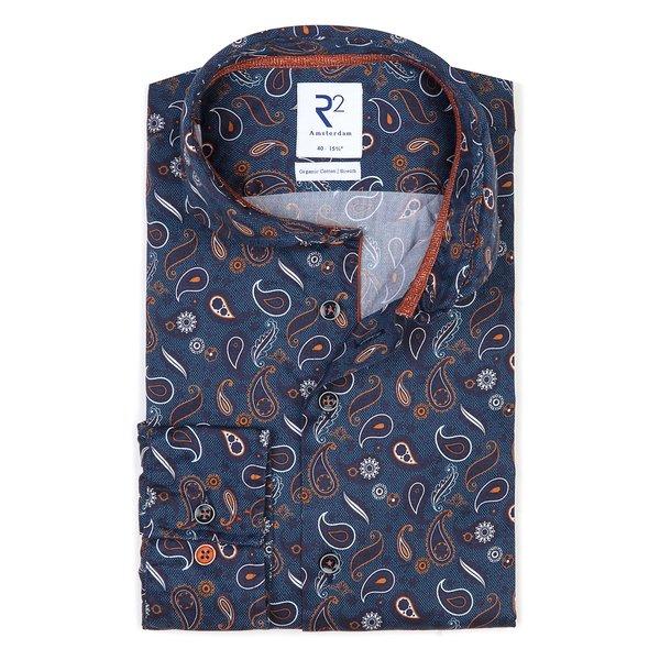 R2 Donkerblauw paisley-print dobby 2-PLY katoenen overhemd