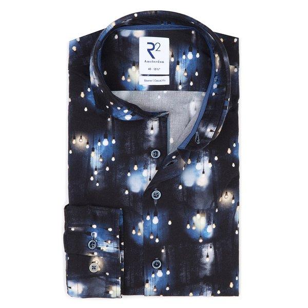R2 Donkerblauw lampenprint katoen-stretch overhemd