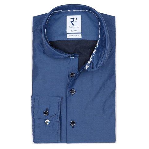 Kobalt blauw 2-PLY katoenen overhemd