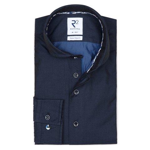 Donkerblauw 2-PLY katoenen overhemd