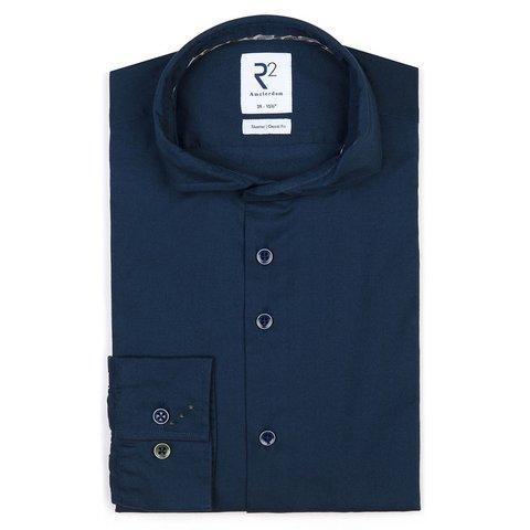 Donkerbauw flanel katoen-stretch overhemd