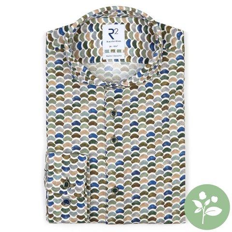 Weiß Stühle Druck dobby organic Baumwolle-stretch Hemd