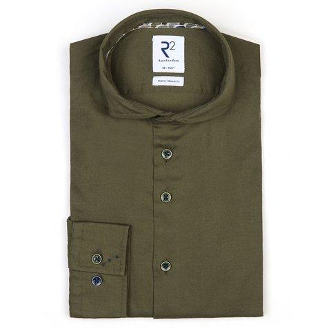 Green flanel stretch katoenen overhemd