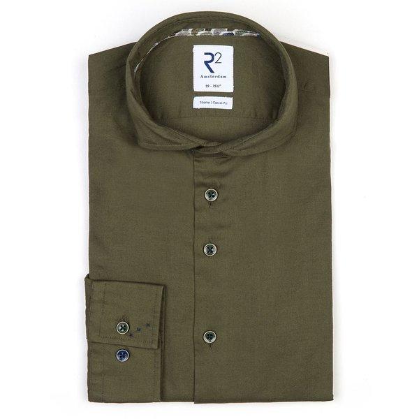 R2 Green flanel stretch katoenen overhemd