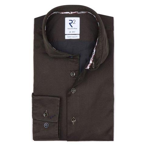 Bruin 2-PLY katoenen overhemd