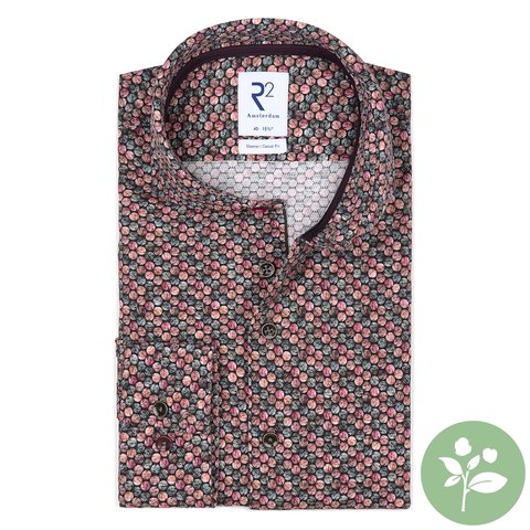 Donkerbruin stippenprint dobby organic cotton stretch overhemd