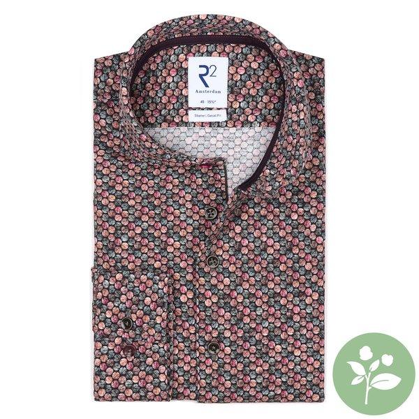 R2 Donkerbruin stippenprint dobby organic cotton stretch overhemd