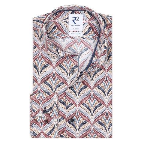 Wit plantenprint katoen-stretch overhemd