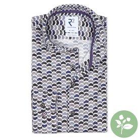 R2 Wit stoelenprint dobby organic cotton stretch overhemd