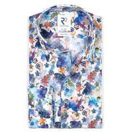 R2 White paint print dobby cotton shirt