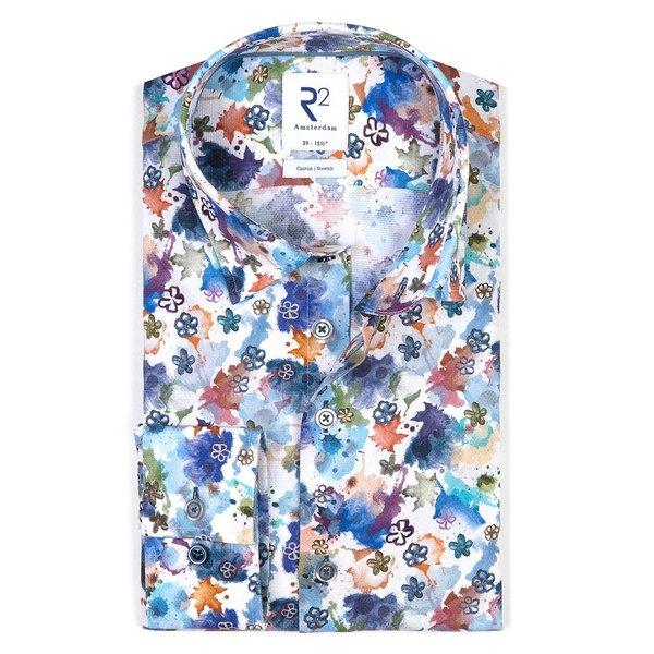 R2 Wit verfspetter print dobby katoenen overhemd
