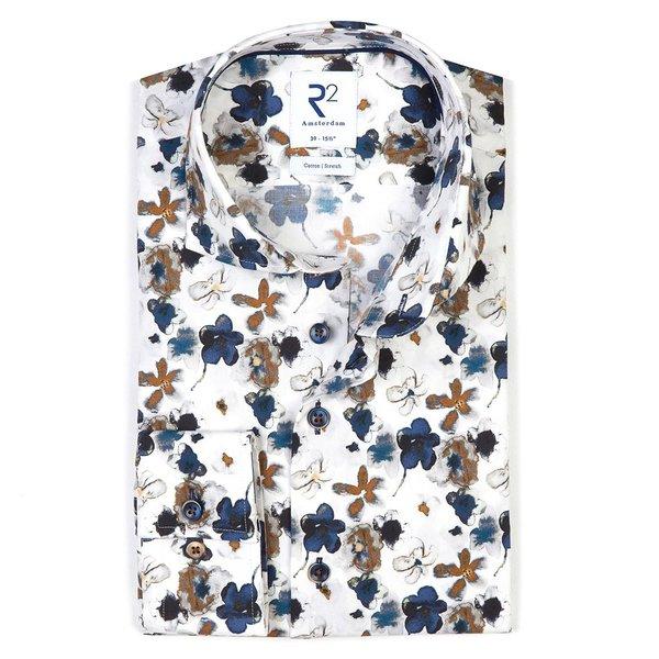 R2 Wit bloemenprint katoen-stretch overhemd