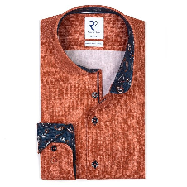 R2 Oranje herringbone 2-PLY katoen flanel overhemd