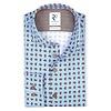 Lichtblauw gestreept herringbone 2 PLY katoenen overhemd