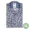 Wit stoelenprint organic cotton stretch overhemd