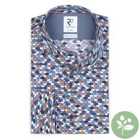 R2 Wit stoelenprint organic cotton stretch overhemd