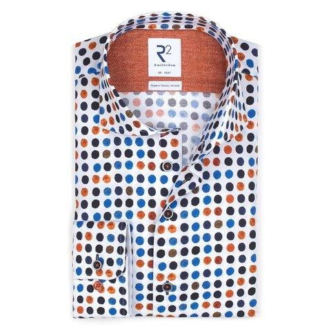 Wit stippenprint dobby 2-PLY katoenen overhemd