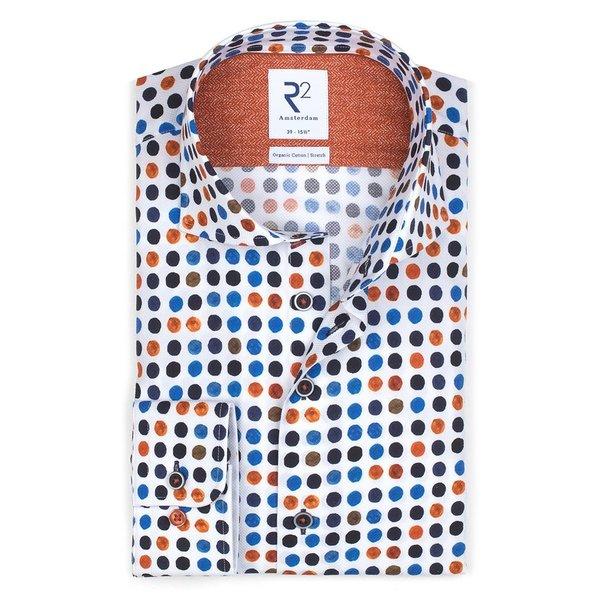 R2 Wit stippenprint dobby 2-PLY katoenen overhemd
