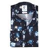 Donkerblauw lampenprint katoen-stretch overhemd