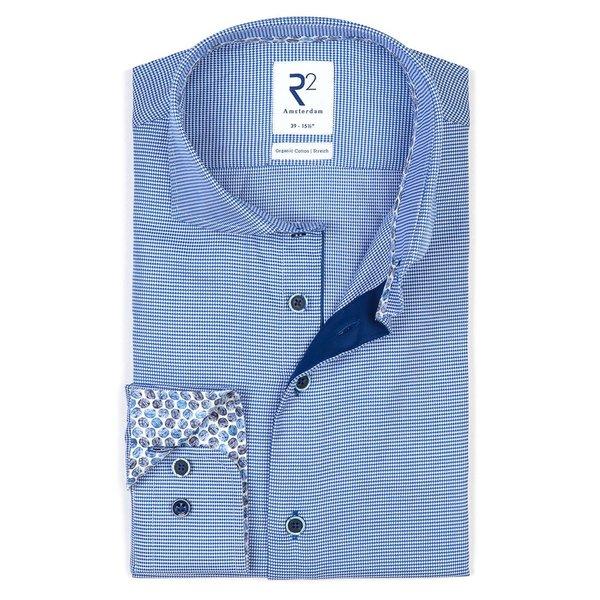 R2 Blauw pied de poule 2-PLY katoenen overhemd